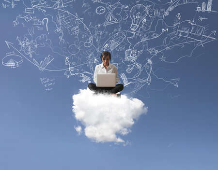 Internet and social network concept with a girl over a cloud