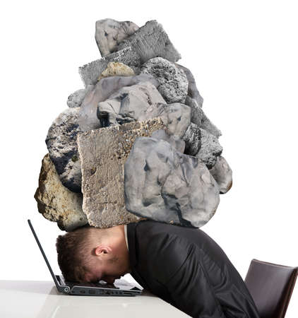 headache pain: Concept of Stress at work with rocks above the head