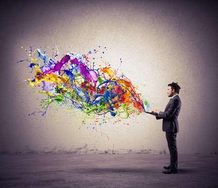 カラフルな効果を持つ創造的な技術の概念 写真素材