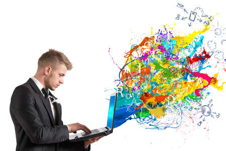 portables: Creative technology with colorful effect that exit from a  table Stock Photo