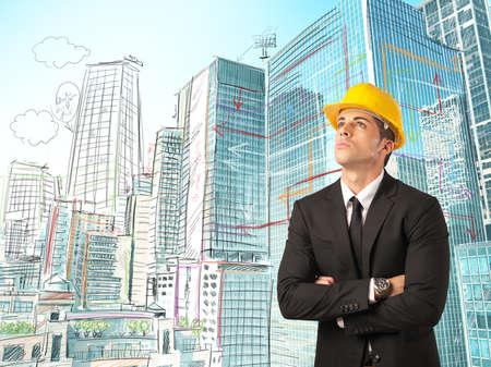 managers: 건축가의 스케치와 도시의 도시 스톡 사진