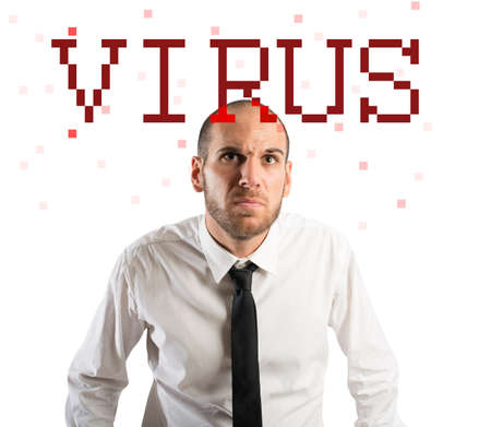 worried businessman: Worried businessman with a virus on pc Stock Photo