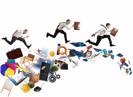Concept of competitive business with running businessman photo