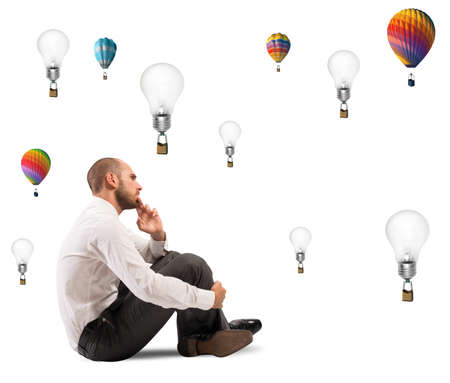 opportunity discovery: Concept of creativity of a businessman with flying idea