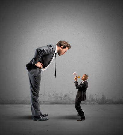 discredit: Concept of stress with Businesswoman reproaches shouting a businessman Stock Photo