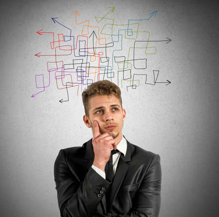 indecision: Concept of indecision and confusion in business Stock Photo