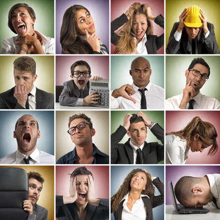 impuestos: Collage de la cara triste expresión de las personas Foto de archivo