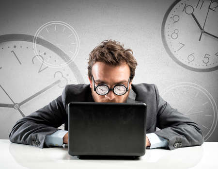 Internet addiction concept with clock in the glasses