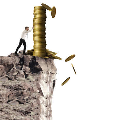 Concept of throwing money with businessman that throws the money from the mountain photo