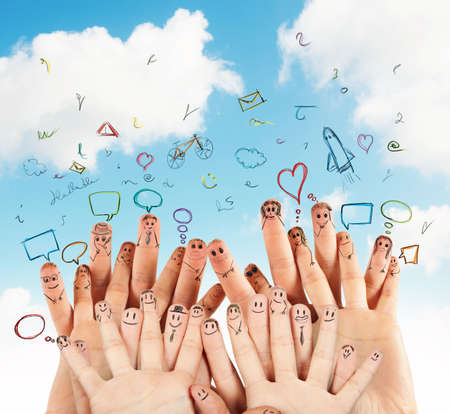 apoyo social: Concepto de red social con la mano dibujada Foto de archivo