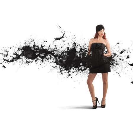 コンセプト: 黒のモーションエフェクトと創造的なファッションのコンセプト
