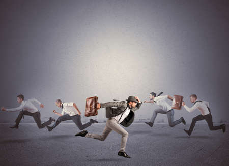 follow the leader: Concept van richting veranderen en anders Stockfoto
