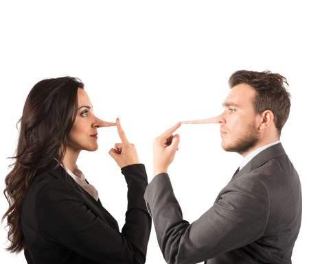 long nose: Concept of lie with couple with long nose