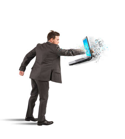 Concept of stress and frustration of a businessman photo