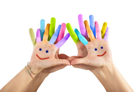 Painted hands with smile isolated on white background