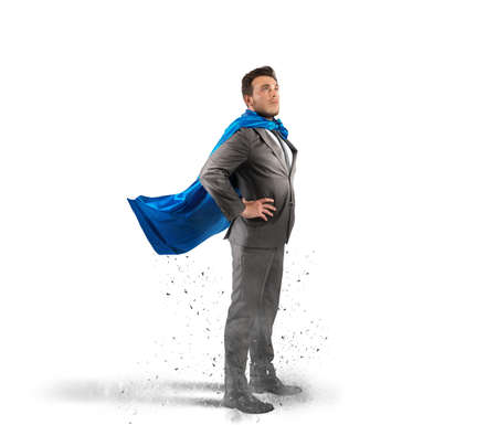 employee: Concept of successful businessman like a super hero