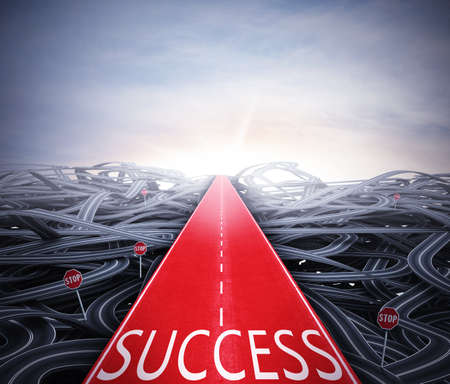 Red easy way to success over street confusion photo
