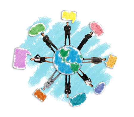 Concept of global social network with businessperson photo
