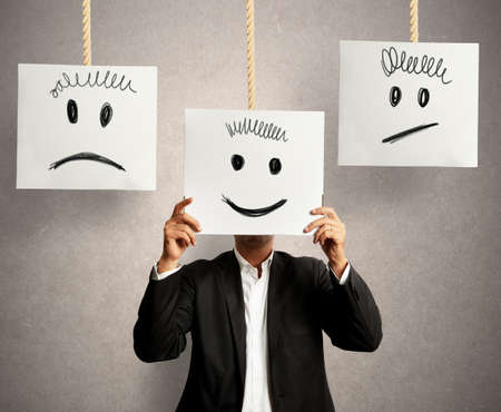positive positivity: Businessman selects the right positive expression