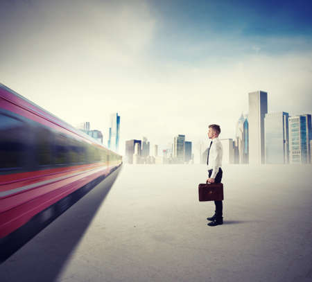Concept of career with fast train in the city Stock Photo