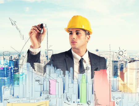 architect: Architect drawing a sketchof modern building project Stock Photo