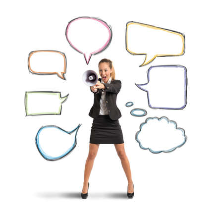 Concept of new message with businesswoman with megaphone photo