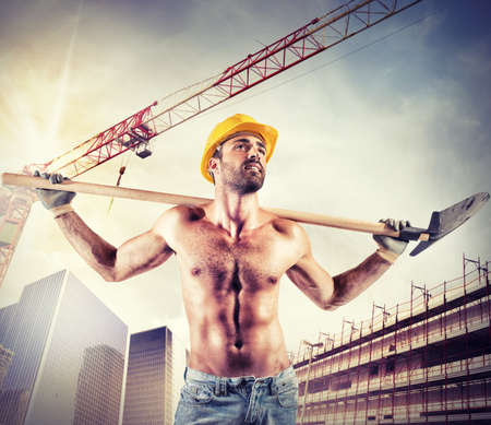 Sexy mason working on a new building photo
