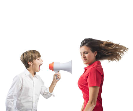 loudhailer: Child yells at her mother with megaphone Stock Photo