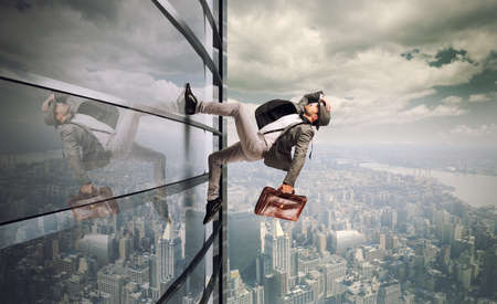 競技会: 断固とした男、超高層ビルを実行しています。 写真素材
