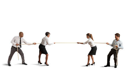 Team and business competition that play a tug of war Stockfoto