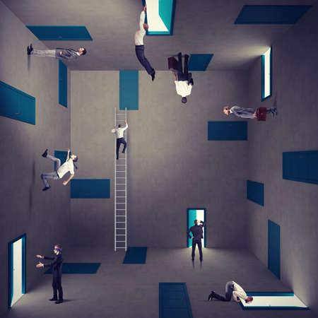 laberinto: Concepto de la confusión y la estrategia de la derecha de un hombre de negocios