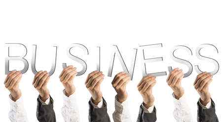 Concept of partnership and teamwork with hands holds business words photo