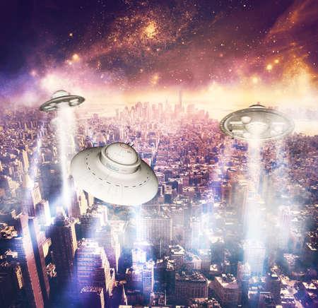 invasion: Alien invasion with spacecraft in the night