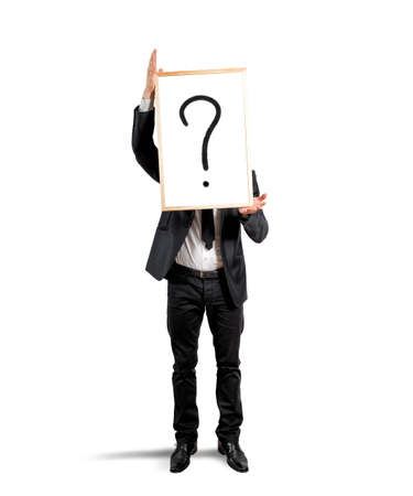 mystery man: Concept of doubt and question of a businessman Stock Photo