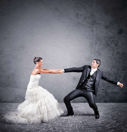 marry: Woman holds man wants to escape from marriage