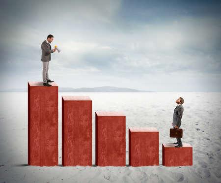 Concept of negative statistics due to economic crisis photo