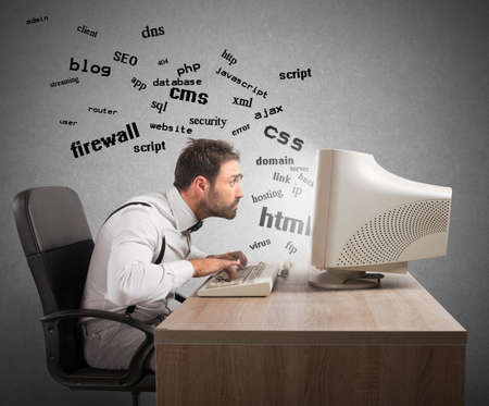 ftp servers: Businessman at work tries to understand internet terms Stock Photo