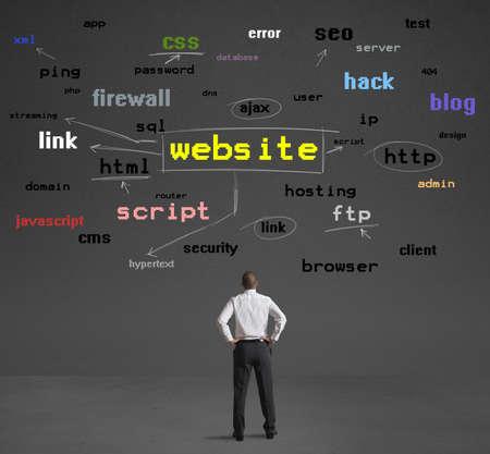 Geschäftsmann lernt Internet-Begriffe, Webseiten zu machen Standard-Bild