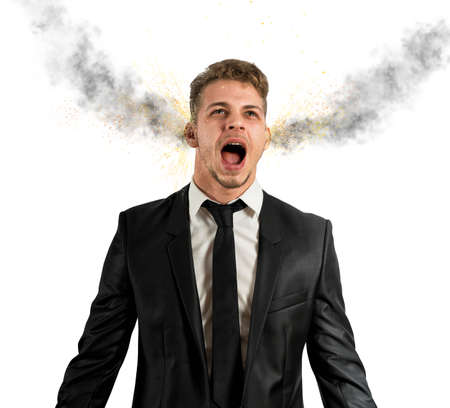 delusion: Concept of stress with businessman and smoke in head Stock Photo