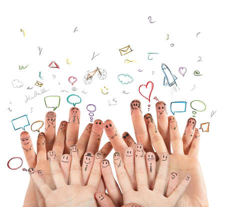 concept: Internet and Social network concept with hands Stock Photo