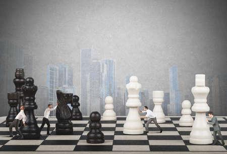 Strategy and tactics of a team of businessman Standard-Bild