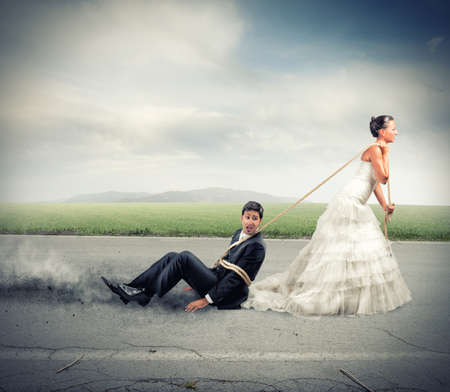 Funny concept of bound and trapped by marriage photo