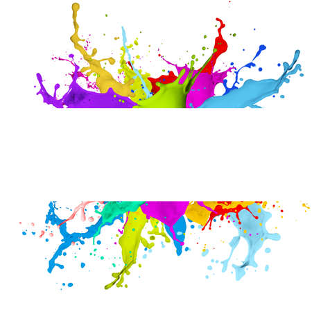 sprays: Fresh banner with colorful splash effect on white background Stock Photo