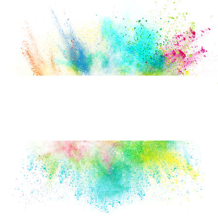 colours: Fresh banner with colorful splash effect on white background Stock Photo