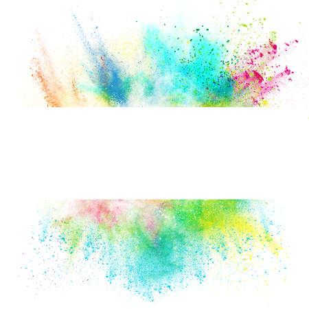 festékek: Friss banner színes splash hatással fehér alapon Stock fotó
