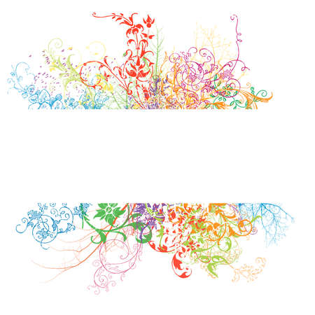 Fresh banner with colorful floral effect on white background photo