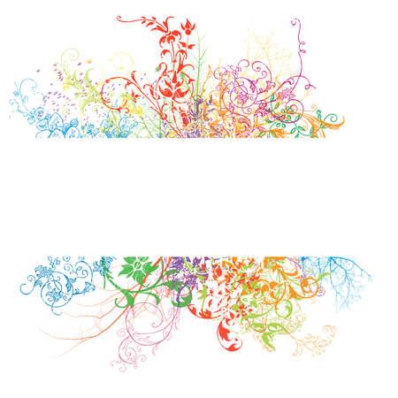Frisch Banner mit bunten Blumeneffekt auf weißem Hintergrund Standard-Bild