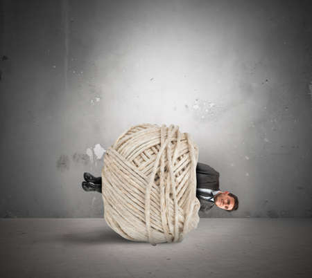 are trapped: Concept of crisis and problem with trapped businessman