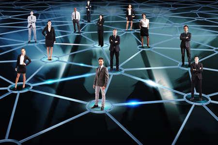 negocios: Concepto de red social con un grupo de empresarios de un