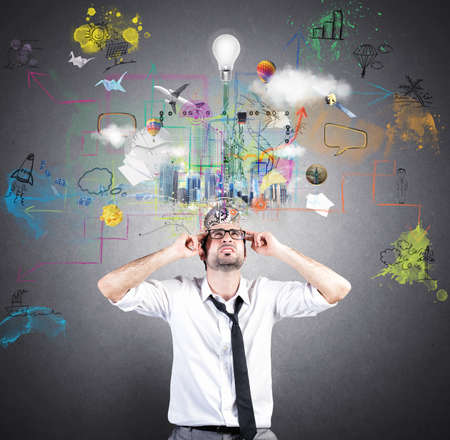 Concept van de creatieve idee van een zakenman Stockfoto
